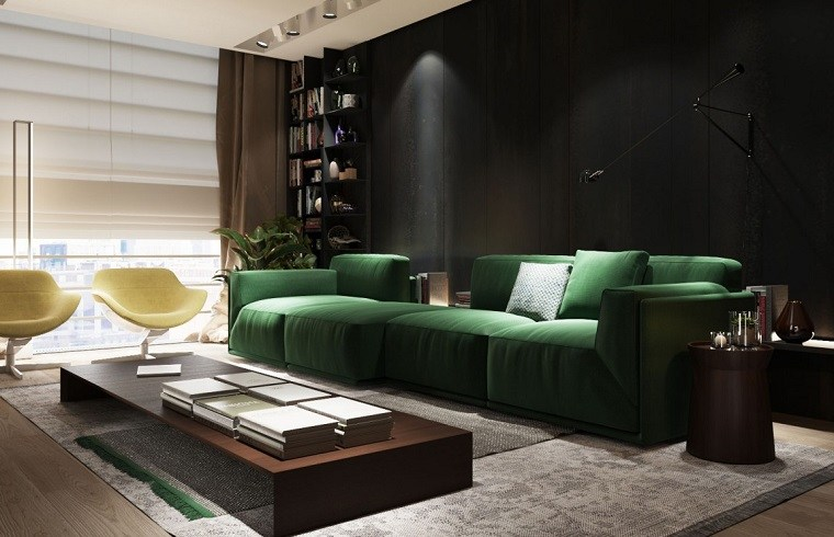 colores pintar salon moderno pared negra ideas