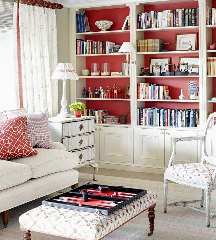 colores pintar salon moderno rojo estantes ideas