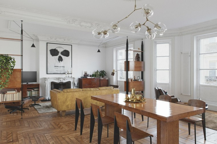 comedor abierto salon diseno estilo vintage ideas