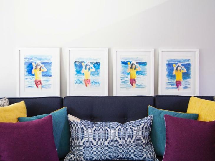 cuadros espacios colores claros muebles amarillo