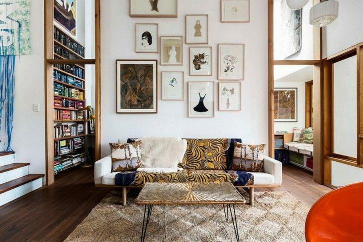 cuadros estantes suelos alfombras sillas
