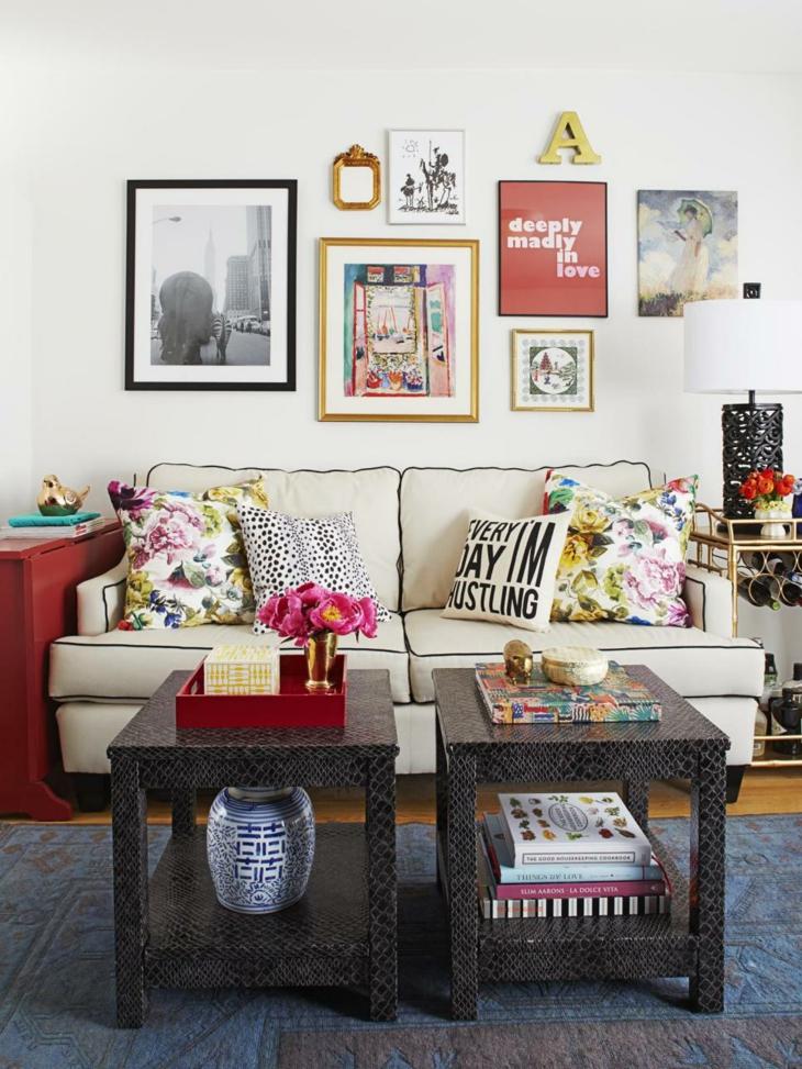 Cuadros para decorar sobre el sofá con efectos creativos