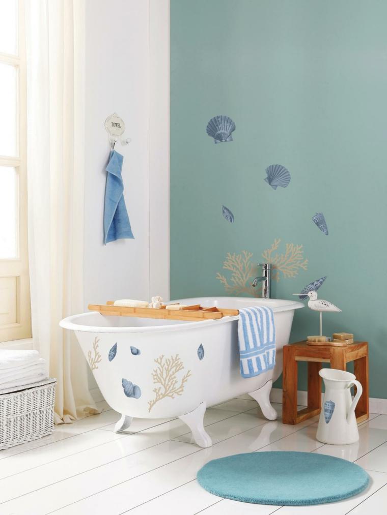 cuarto bano pared color celeste