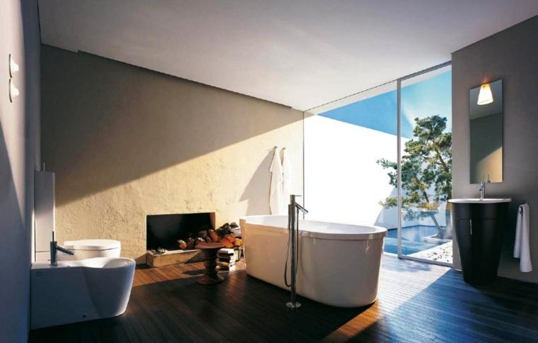 cuarto bano estilo minimalista chimenea
