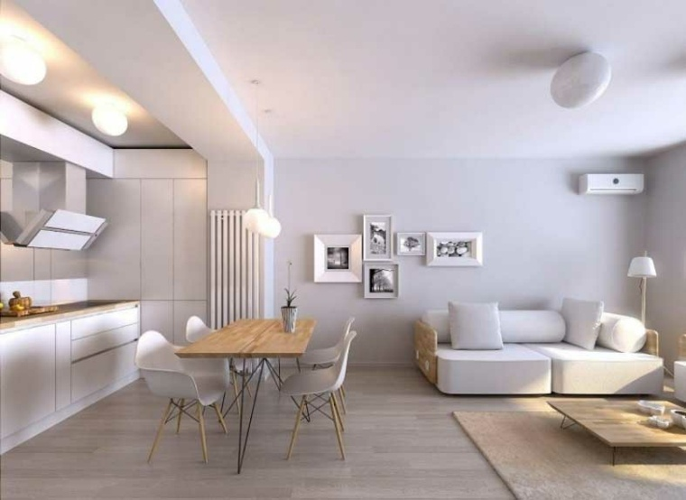 Salones en blanco descubra los 100 interiores m s modernos for Corredor deco blanco y gris