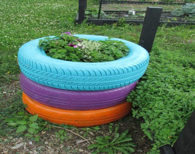 Neumaticos viejos para decorar tu jard n 24 ideas - Jardineras con ruedas ...