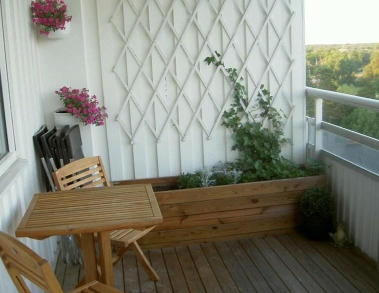 decoración terraza jardinera madera