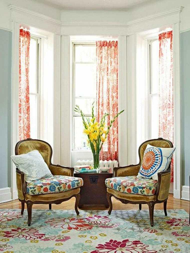 decoración vintage salones estampados flores