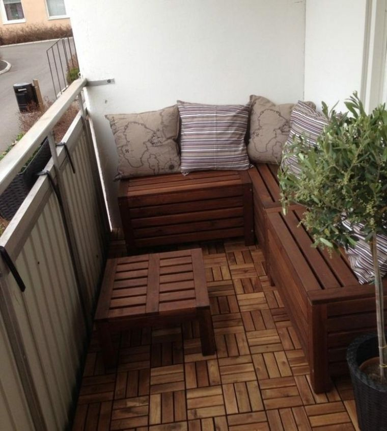 Ideas para terrazas y balcones peque os 24 im genes for Mesillas madera natural
