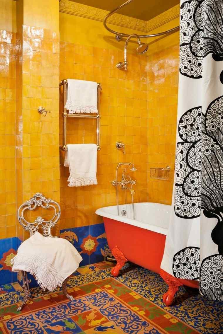 decoración bano azulejos étnicos