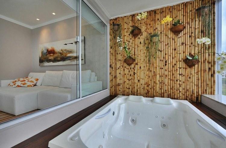decoracion bambu listones madera plantas amarillo