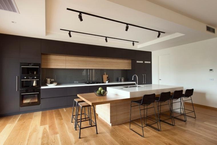 Decoración de cocinas americanas con diseño vistoso -