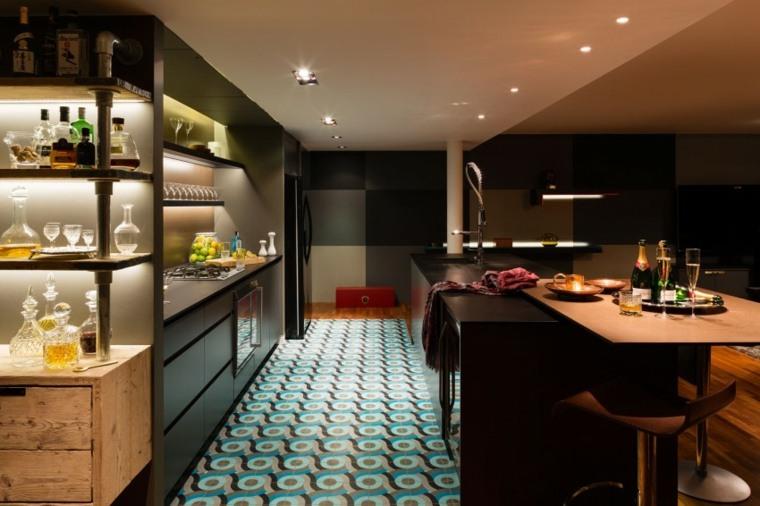 decoracion cocinas americanas iluminacion LED ideas