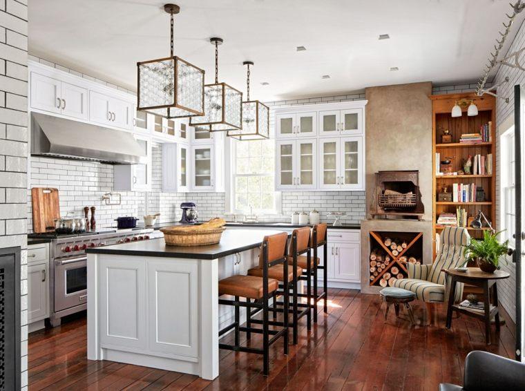 decoracion cocinas americanas losas blancas pared ideas