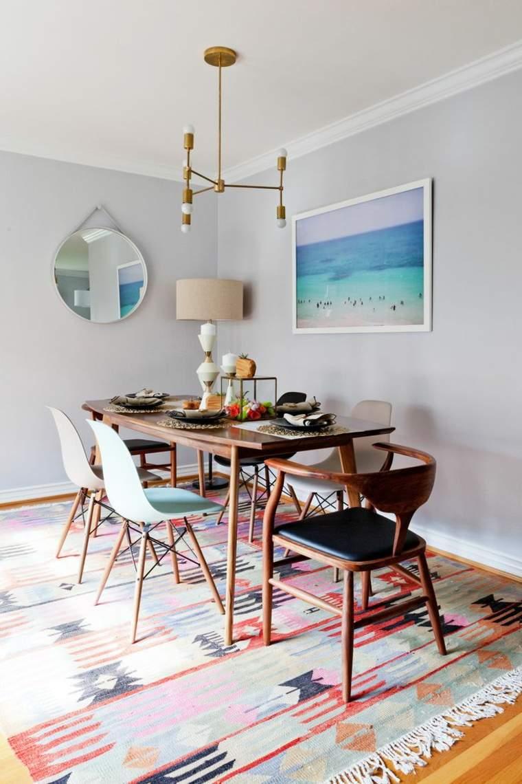 decoracion comedores modernos alfombra colorida ideas