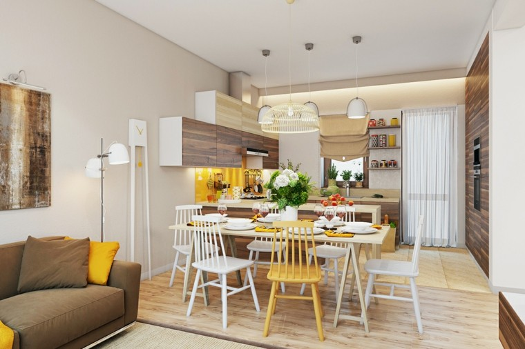 decoracion comedores modernos blanco amarillo ideas