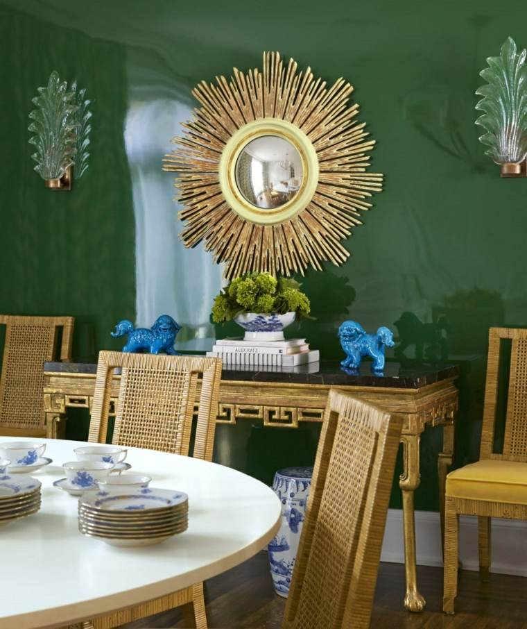 decoracion comedores modernos espejo precioso oro ideas