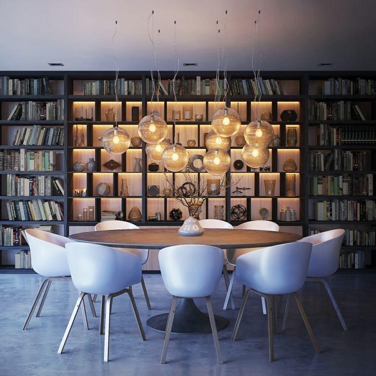 decoracion comedores modernos pared estanterias iluminadas ideas