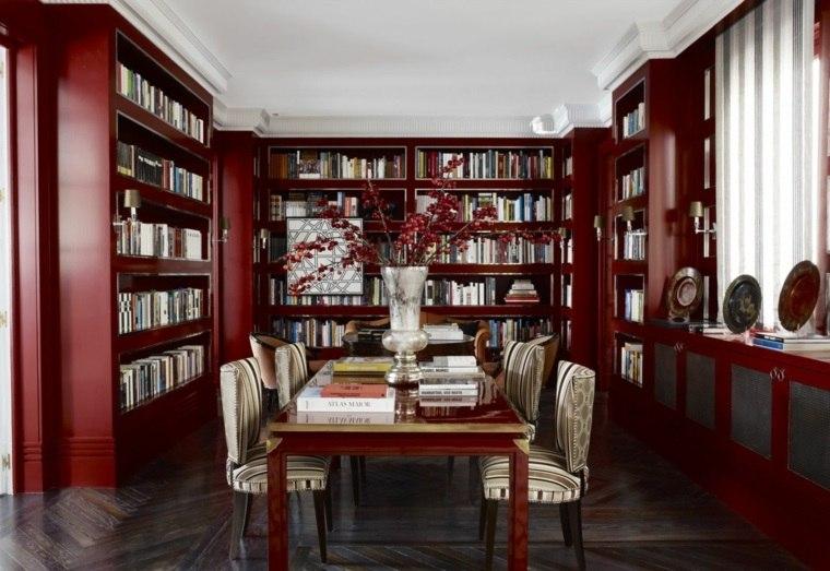 decoracion comedores modernos paredes libreria ideas