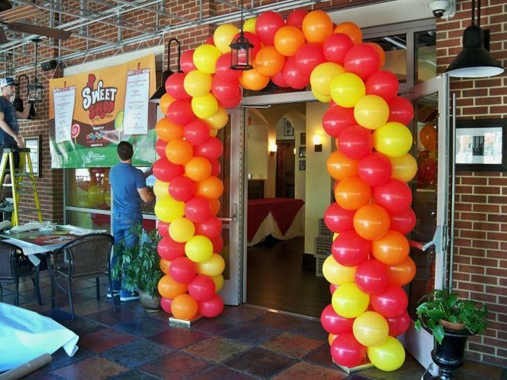 decoracion con globos arcos sistemas amarillos