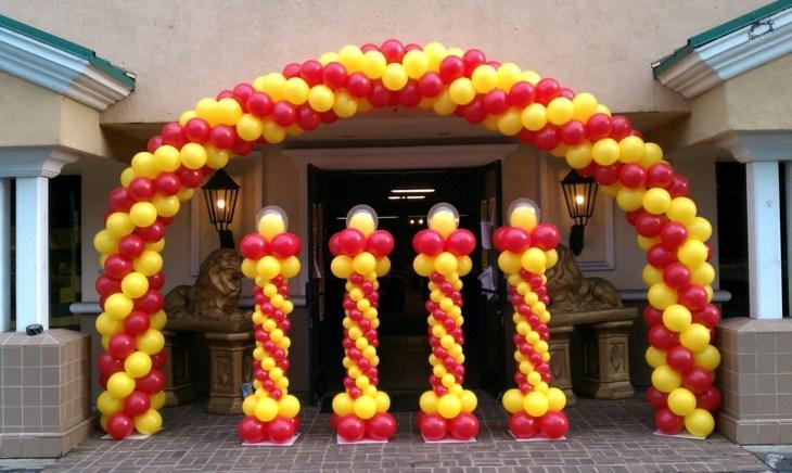 decoracion con globos colores amarillos amarillo