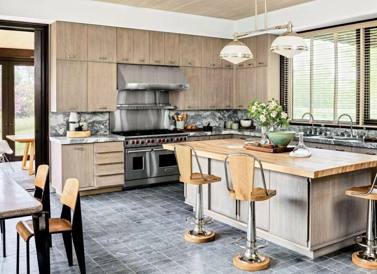 decoracion de cocinas americanas encimera madera sillas altas ideas