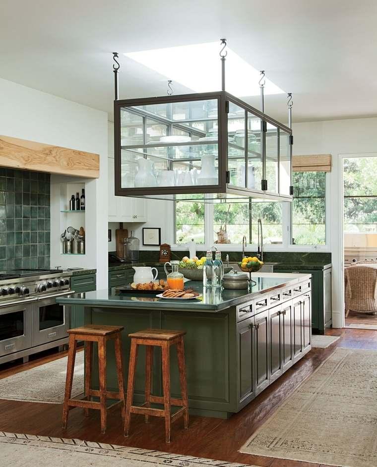 decoracion de cocinas americanas isla madera verde ideas