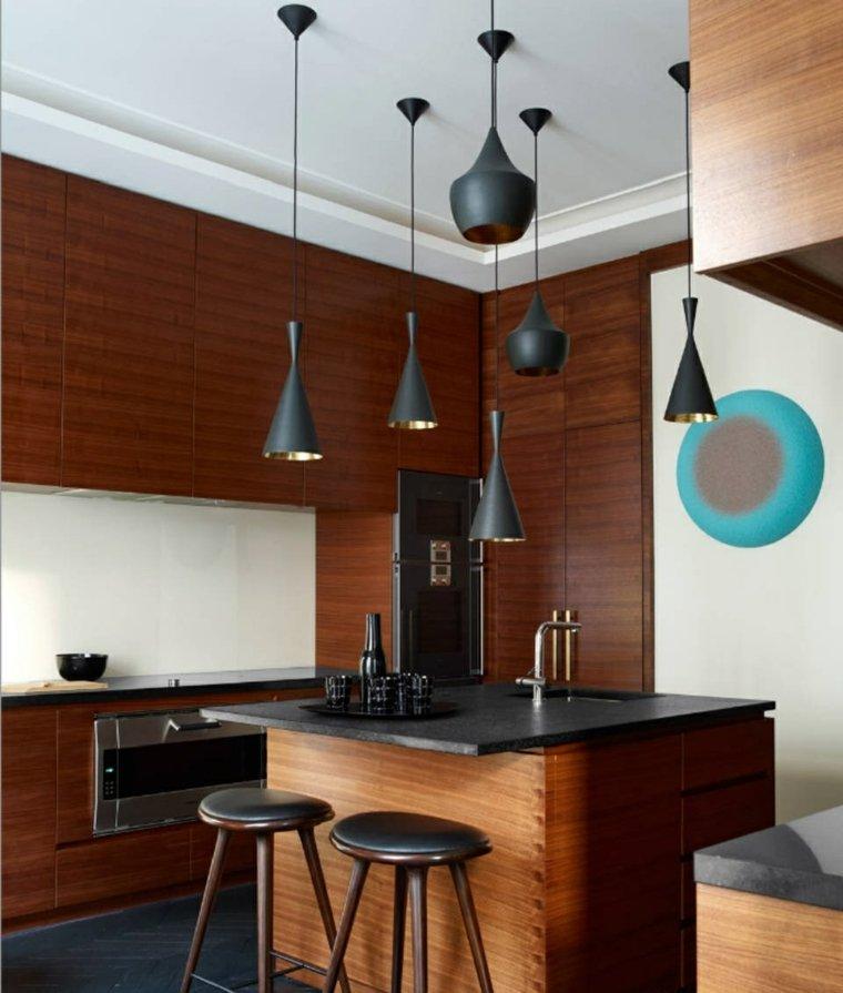 decoracion de cocinas americanas lamparas diseno negras ideas