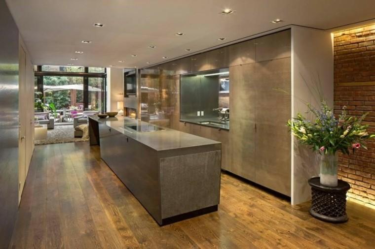decoracion de cocinas americanas larga estrecha suelo madera ideas