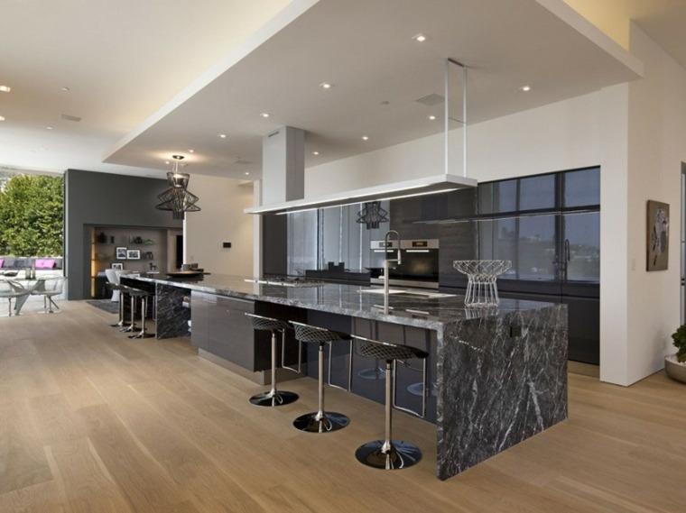 decoracion de cocinas americanas lujosa marmol negro ideas