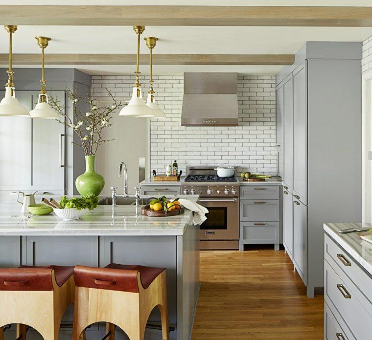 decoracion cocinas americanas muebles color gris claro ideas