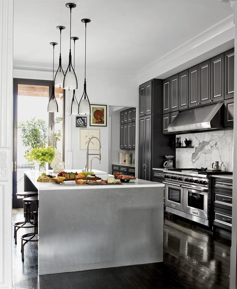 decoracion cocinas americanas muebles negros isla grande ideas