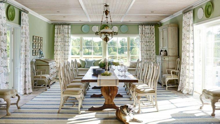 decoracion de interiores verano comedor paredes verdes ideas