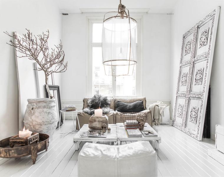 decoracion sala estilo escandinavo blanco