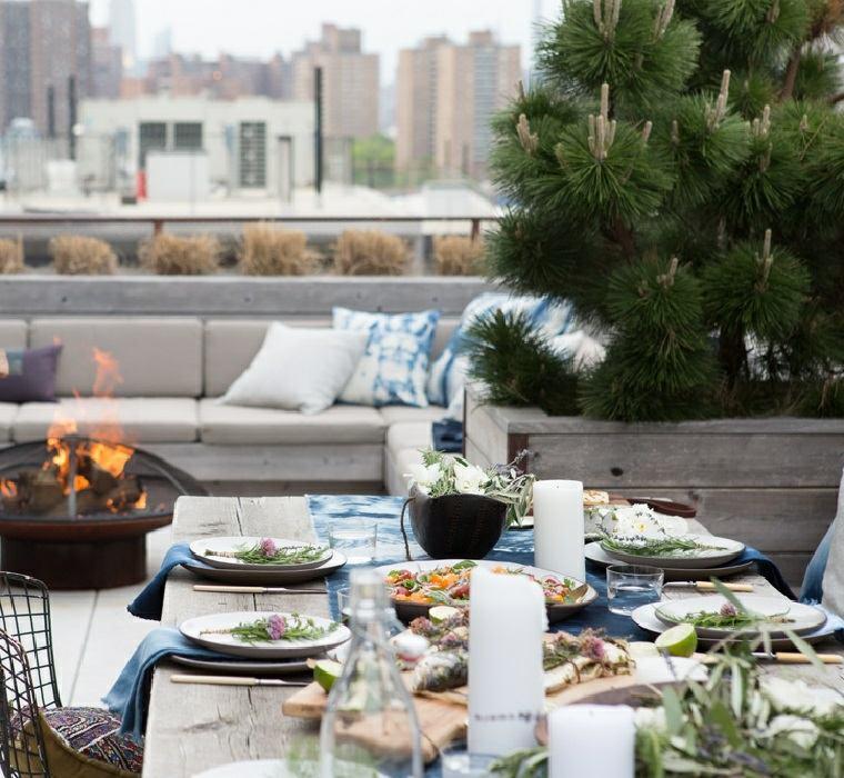 decoracion romantica mesa plantas terraza moderna ideas