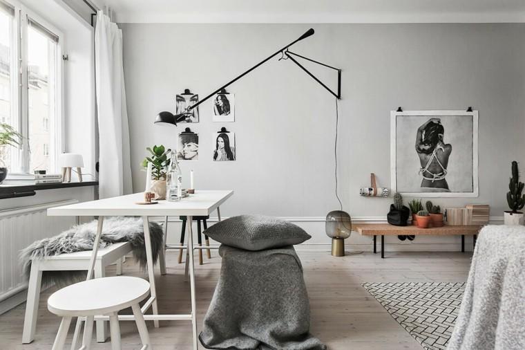 Decoracion Salon Moderno Blanco Gris