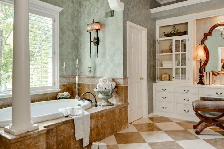 decoracion vintage baños colores frescos columnas