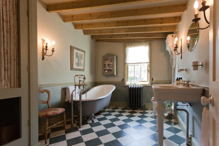 decoracion vintage baños cuadros paredes negros