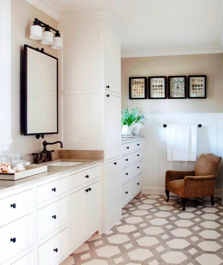 decoracion vintage baños cuero asientos espejos