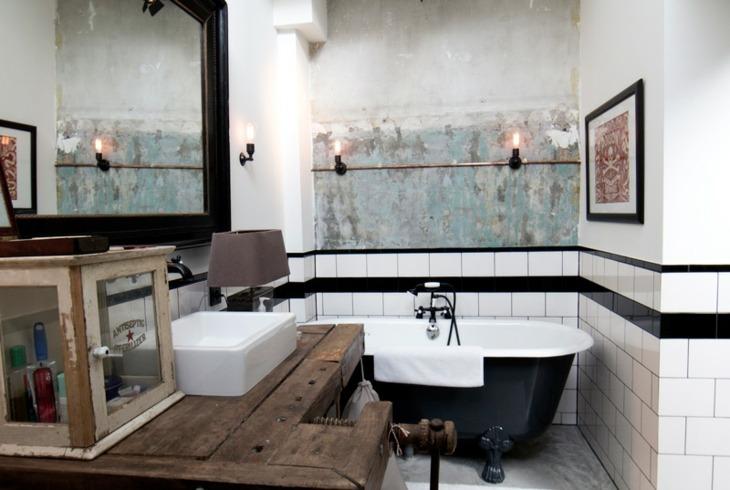 decoracion vintage baños madera aspectos cuadros