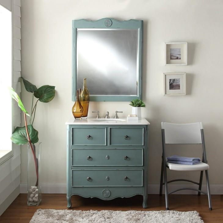 decoracion vintage baños mobiliario tonos lavabo