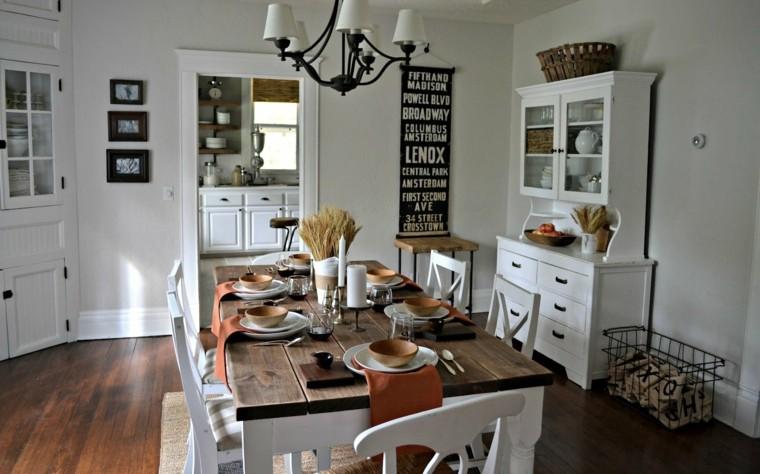 decoracion vintage comedor muebles madera blancos ideas