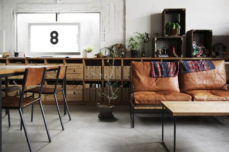 decoracion vintage moderna muebles cuero ideas