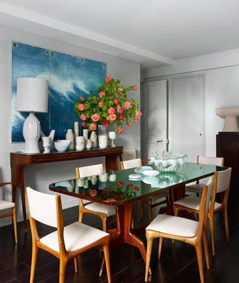 decorar comedor moderno jarrones tazas lampara blanca ideas