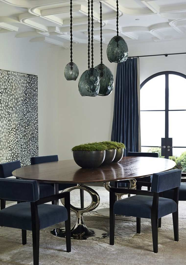 decorar comedor moderno muebles cortinas negras ideas