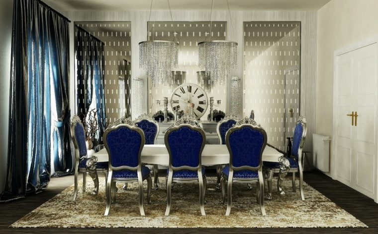 decorar comedor moderno muebles lujosos azul plata ideas
