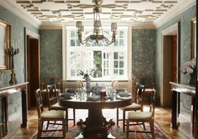 decorar comedor moderno papel pared muebles madera ideas