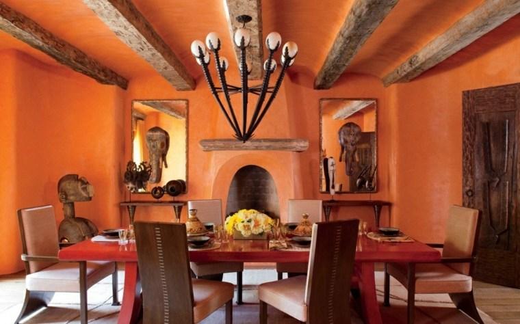 decorar comedor moderno pared color naranja llamativo ideas