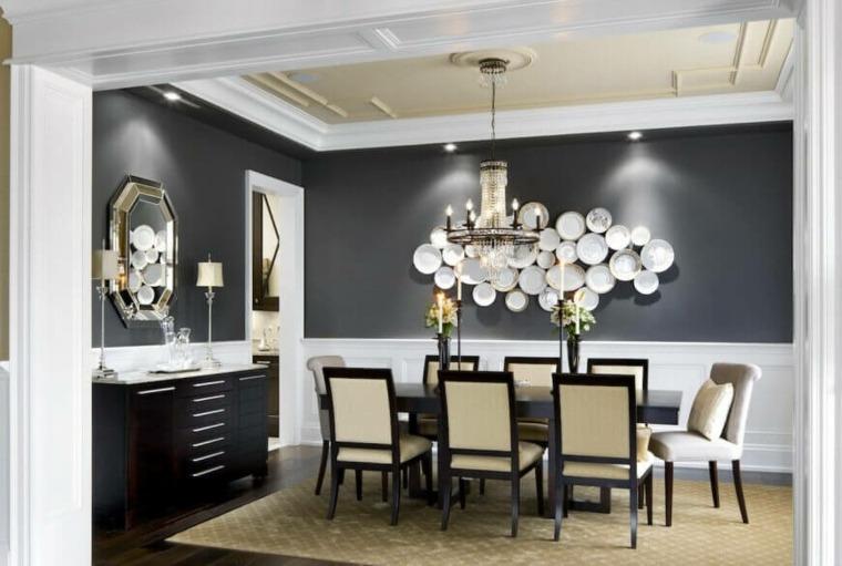 Ideas Decoracion Comedor Moderno ~ Pared de color verde oscuro y muebles blancos en el comedor moderno