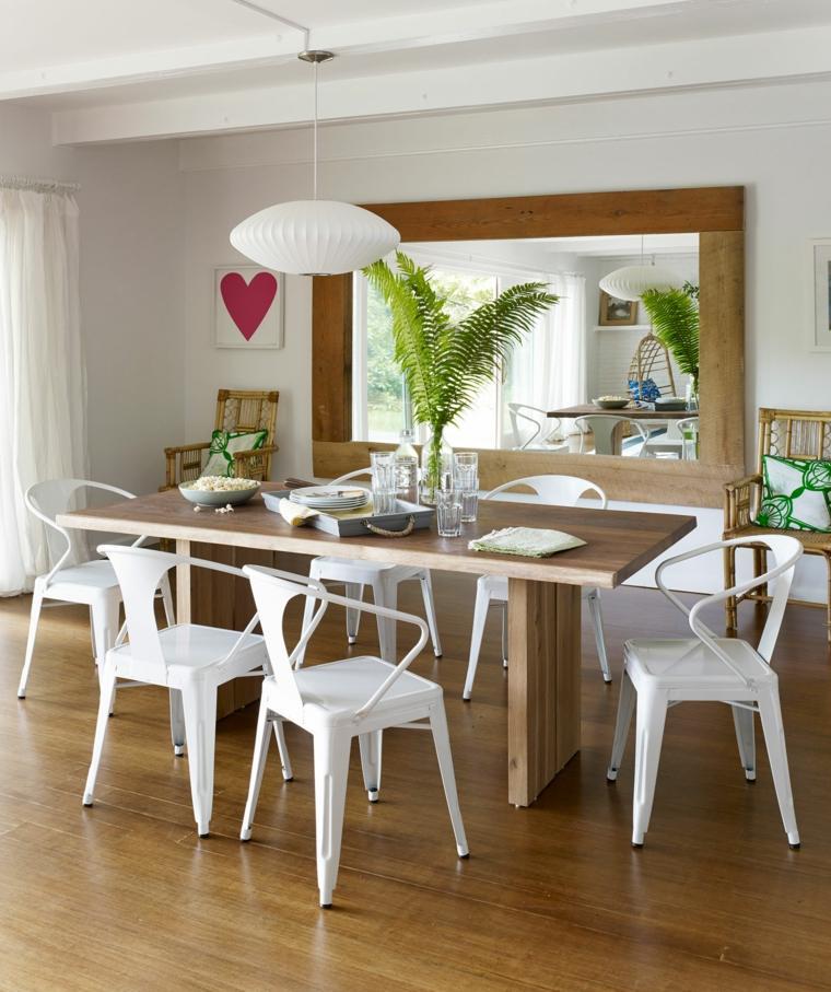 decorar comedor moderno sillas blancas mesa madera ideas